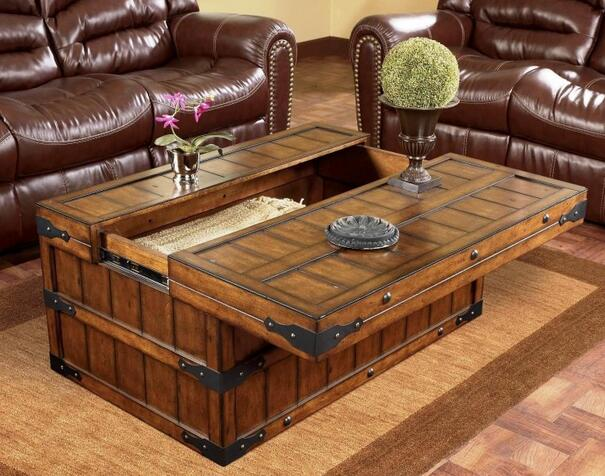 Traditional Trunk Style Lift Top Coffee Tables